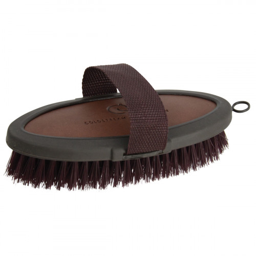 Coldstream Faux Leather Body Brush - Brown/Black - 18.3 x 9cm