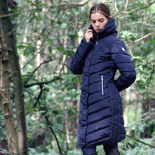 Coldstream Kimmerston Long Quilted Coat - Navy - X Small